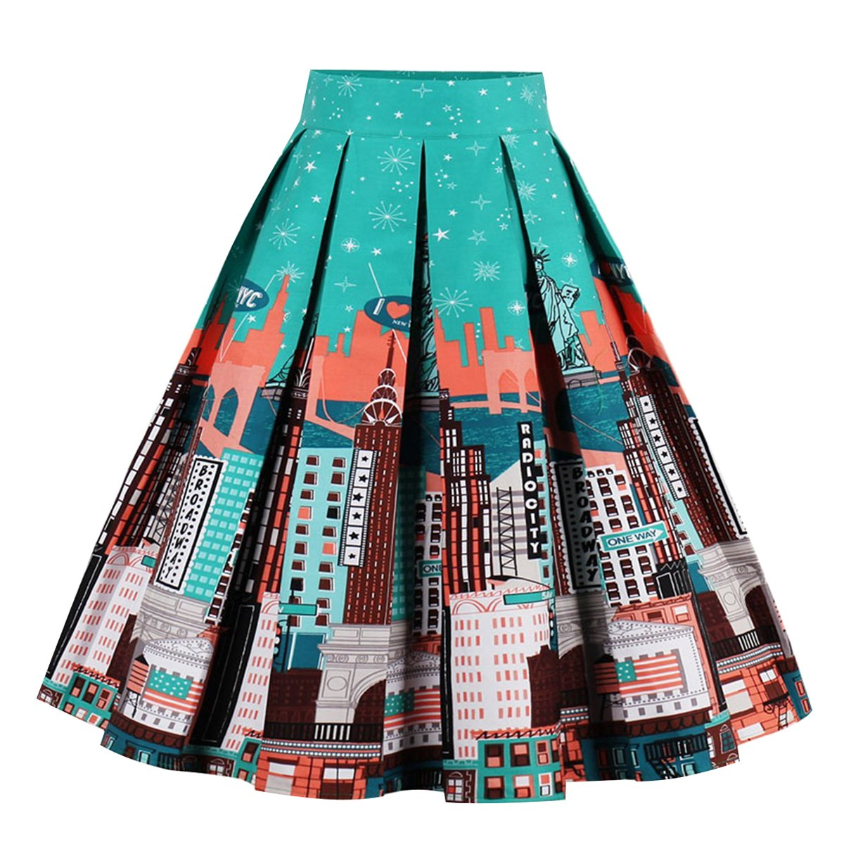 Girstunm Women's Pleated Vintage Skirt Floral Print A-Line Midi Skirts with Pockets Statue of Liberty XL