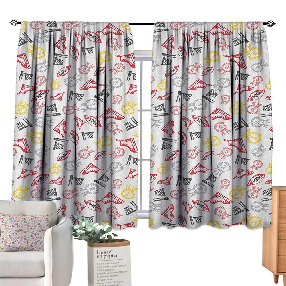 familytaste Sport,Kids Customized Curtains Hand Drawn Doodle Icons Physical Activity Shoes Hoops with Awards Abstract Print Blackout Drapes for Baby Bedroom W55 x L72