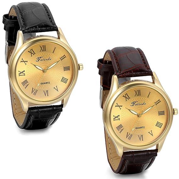 Jewelrywe 2pcs oferta relojes de hombre, Esfera dorada correa de cuero negro/marrón, Estilo de negocios, Número romano fino elegante: Amazon.es: Relojes