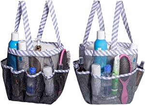 Attmu 2 Pack Portable Mesh Shower Caddy Dorm with 8 Mesh Storage Pockets, Quick Dry Waterproof Shower Tote Bag Oxford