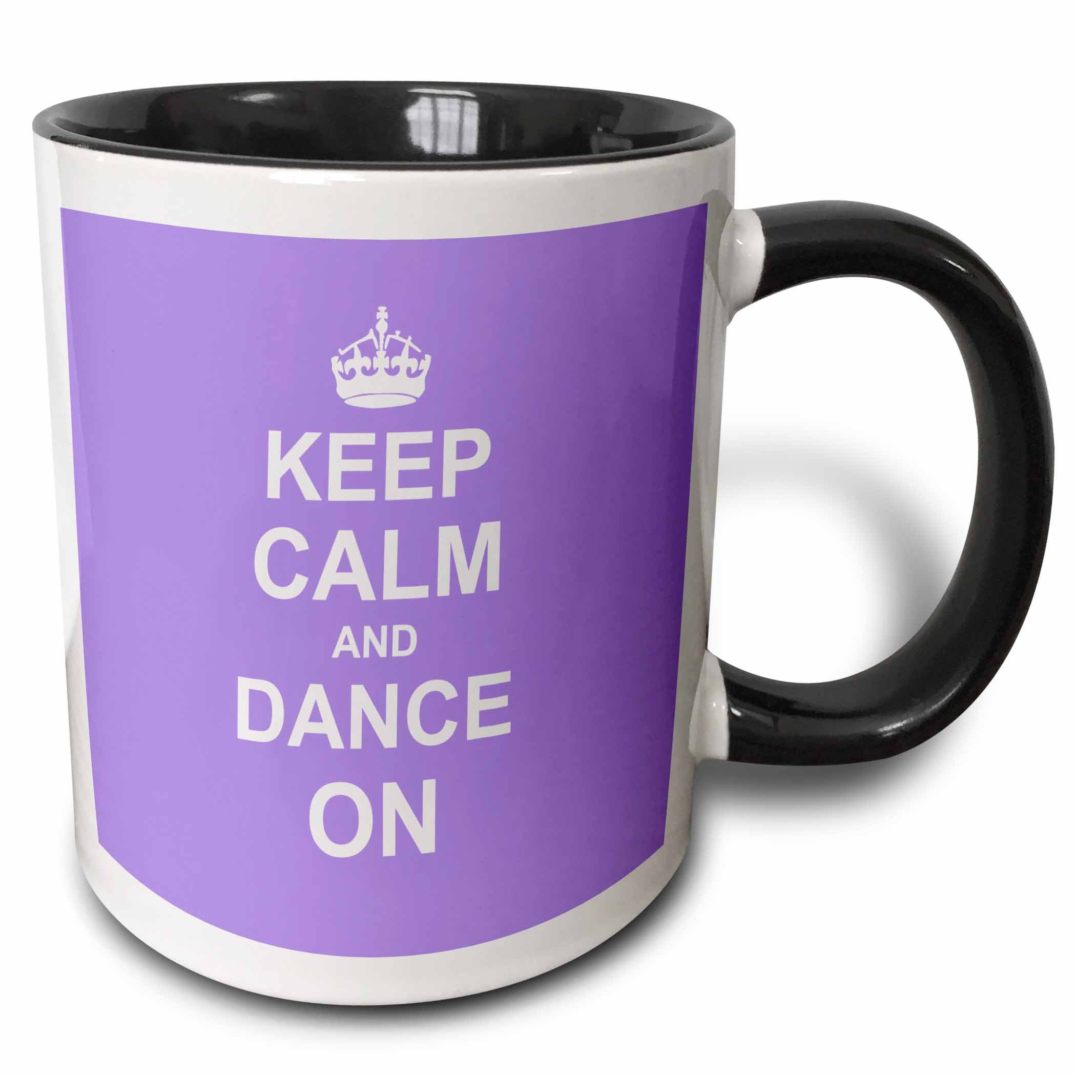 3dRose (mug_157706_4) Keep Calm and Dance on - carry on dancing - gifts for dancers lilac purple fun funny humor humorous - Two Tone Black Mug, 11oz