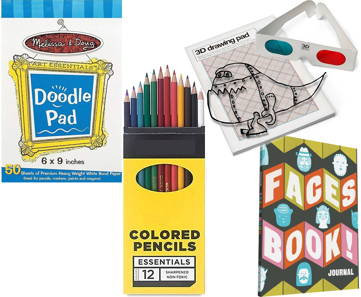 Colored Pencils Bundle Pack AYB Products Fun Drawing Studio Funny Faces Book//Journal Doodle Pad /& 3D with Glasses Sketching Pack