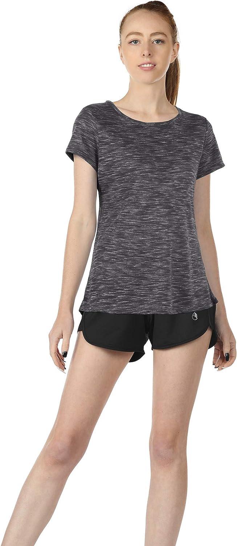 icyzone Damen Laufshirt Sport Fitness Kurzarm T-Shirt Casual Tops Tee 2er Pack