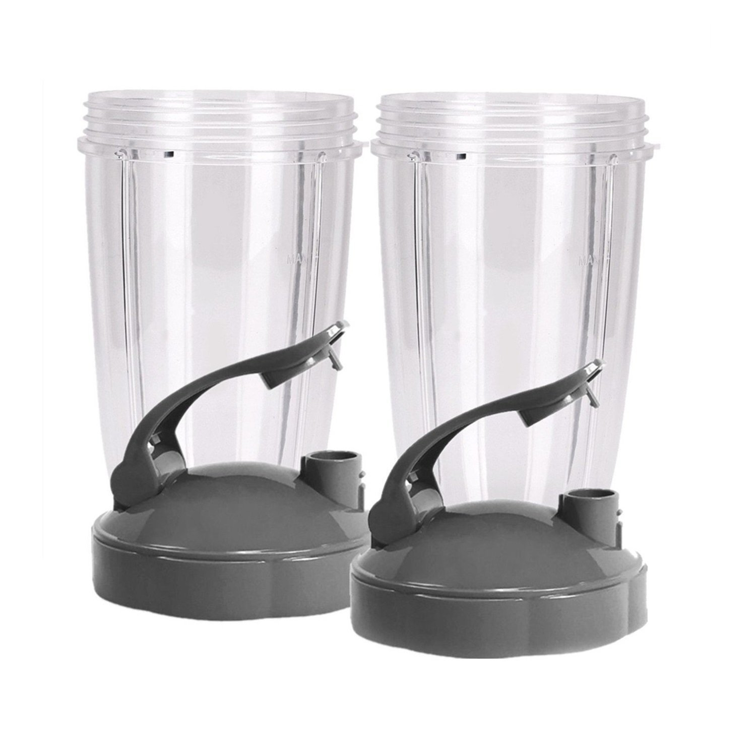 NUTRiBULLET 24-Ounce Cups with Flip Top To-Go Lid by NutriGear (Pack of 2) | NutriBullet Replacement Parts & Accessories | Fits NutriBullet 600w and Pro 900w Blender