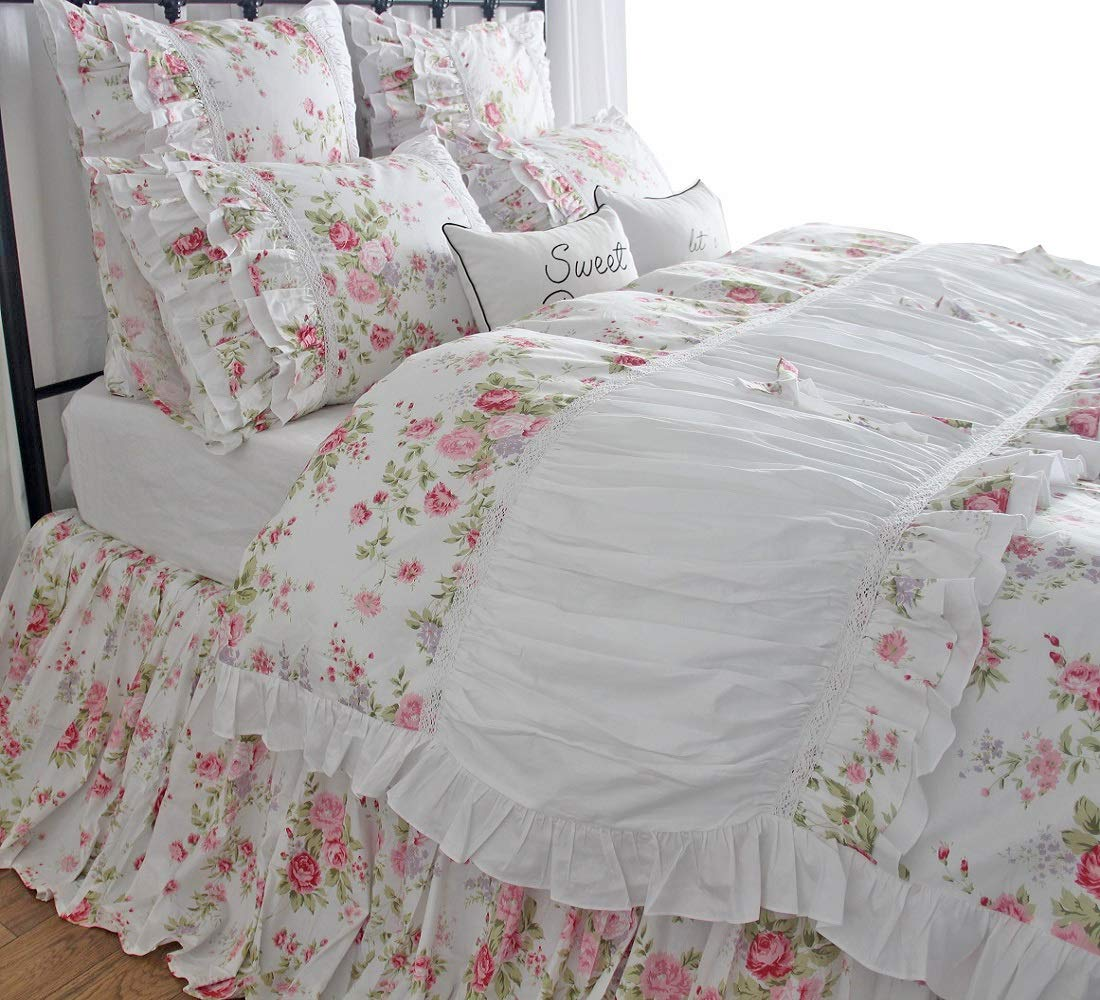 Queen's House Korean Girls Rose Floral Duvet Covers Bedroom Set-Twin,B Queen's House 170515-duvet-B-twin