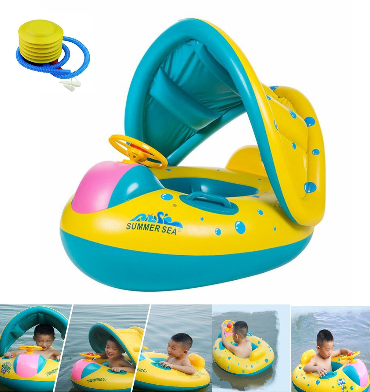 HBONE Inflatable Baby Pool Float Swimming Ring Baby Seat Boat Yacht, Floating Toy with Sunshade and Air Pump Safty for Age 6-48 Months Toddler Kids Children