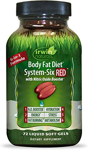 Irwin Naturals Body Fat Diet System-Six RED with Nitric Oxide Booster – 6-in-1 Formula Supports Weight Management, Heart Health, Fat Burning, Hydration, Stress Metabolism – 72 Liquid Softgels