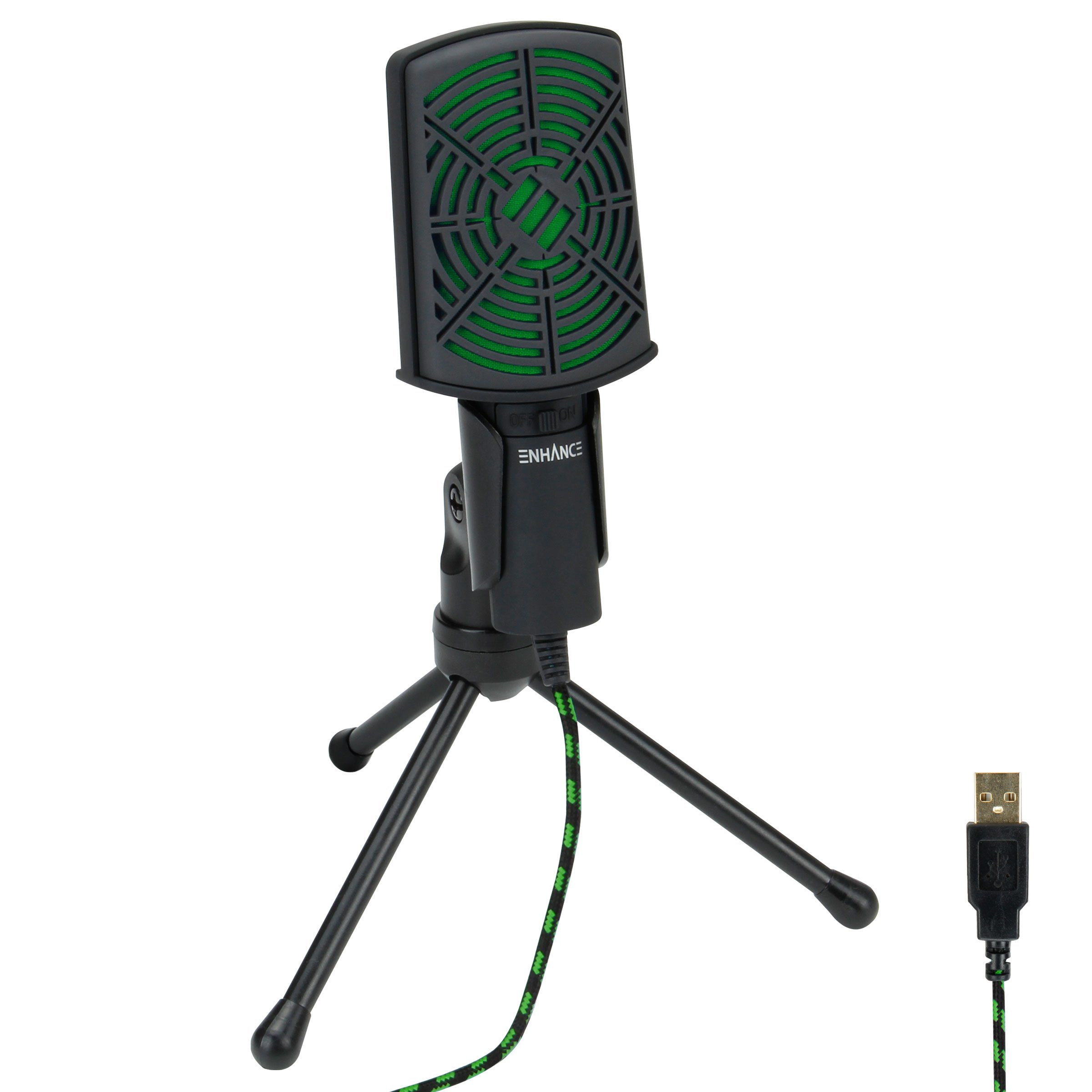 USB Condenser Gaming Microphone - Computer Recording Streaming Mic with Adjustable Stand Design and Mute Switch by ENHANCE - For Skype, Conference Calls, Twitch, Youtube, and Discord - Green