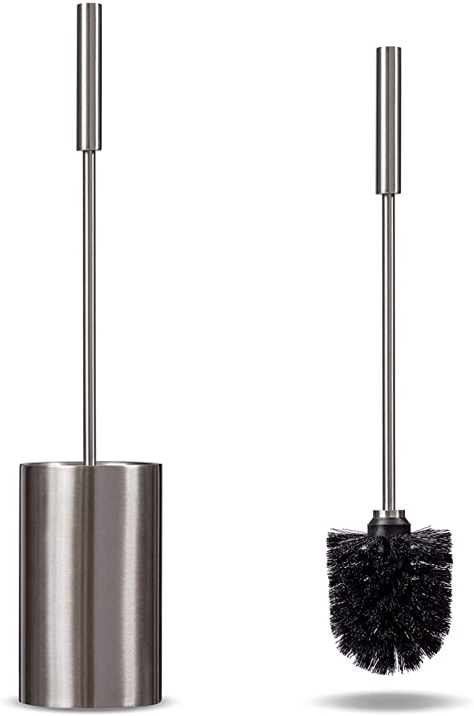 Stainless Steel Free Standing Home Bathroom Toilet Cleaning Brush /& Holder Set
