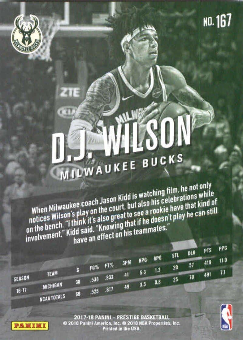 Wilson Milwaukee Bucks Rookie 2017-18 Panini Prestige #167 D.J