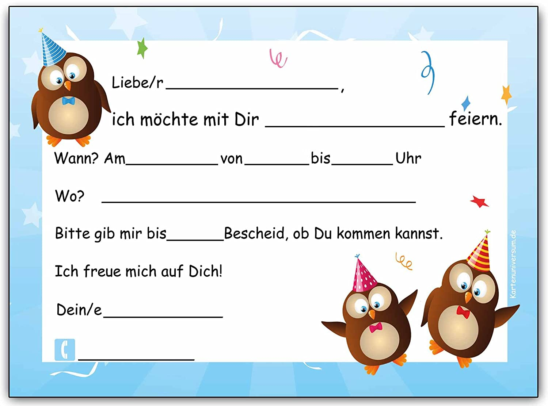 Eulen Kindergeburtstag Einladung Geburtstag Kinder