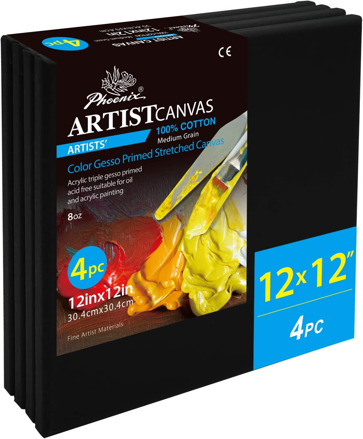 Collages 3//4 Inch Profile Artist Canvas for Oil /& Acrylic Paint 10x10 Inch//4 Pack Advertising Poster /& Decorating Projects PHOENIX Black Painting Stretched Canvas