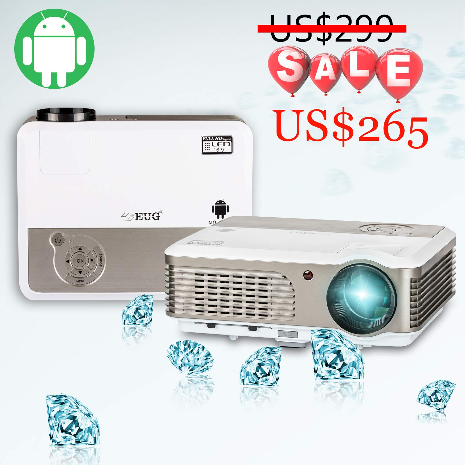 98d706ed386d60 Wireless LCD Projector with Android, Smart Home Cinema WiFi Video Projector  2600 Lumen Support HD 1080P 720P HDMI USB RCA Audio, DVD Media Player  Smartphone ...
