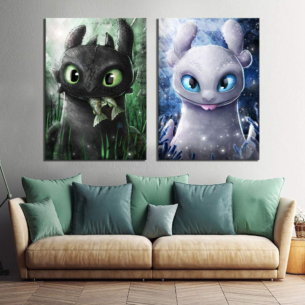 How to Train Your Dragon,Wall Art Home Wall Decorations for Bedroom Living Room Oil Paintings Canvas Prints-986 (Unframed,12x18inchx2)