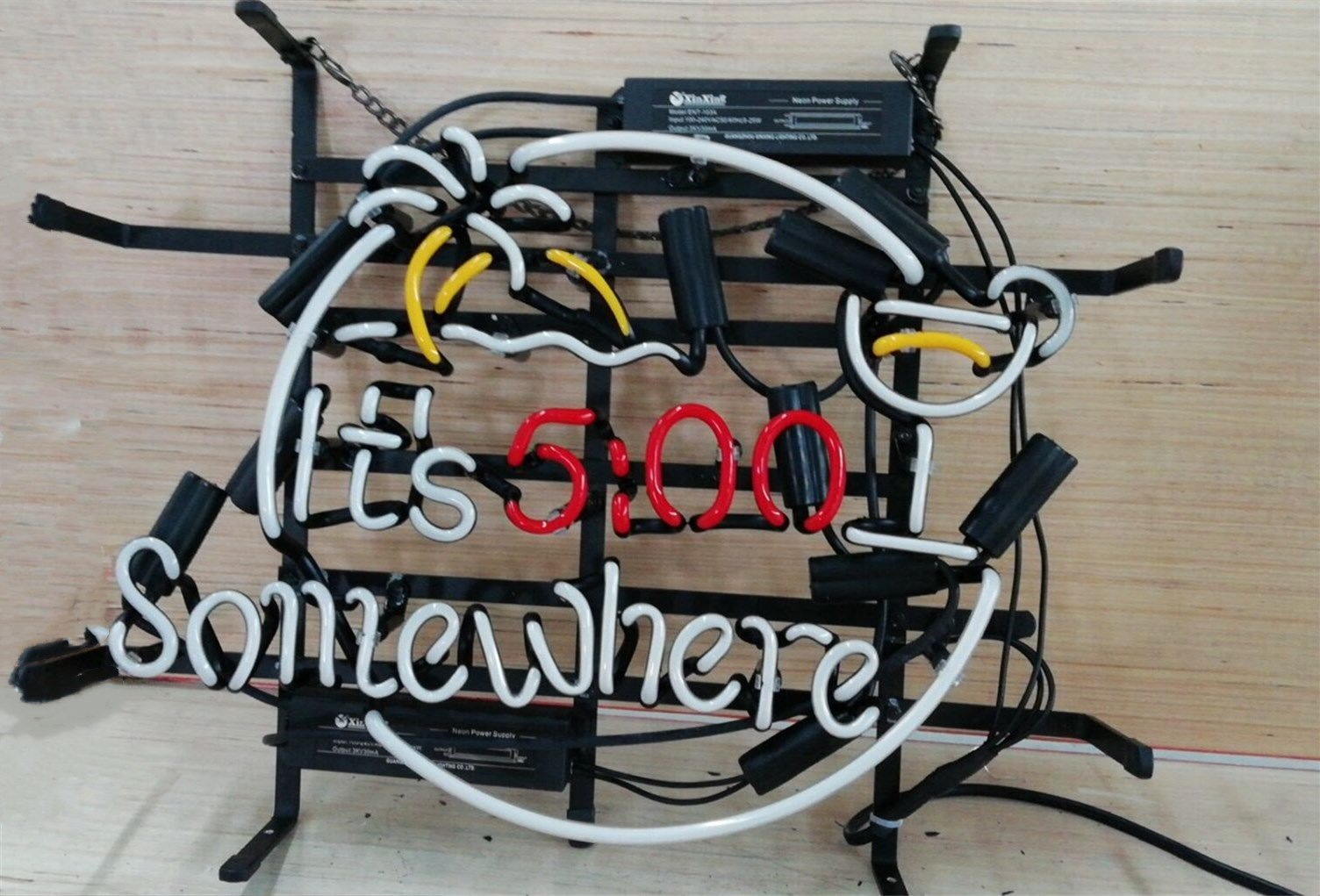 It's 5:00 Somewhere Metal Frame Neon Sign 17''X14'' Real Glass Neon Sign Light for Beer Bar Pub Garage Room.