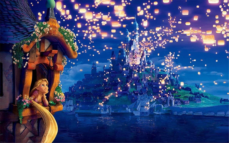 アニメ映画写真背景 ディズニー 写真背景 8x8 キラキラ光るライトアイランドキャッスル 背景幕 塔の上のプリンセス背景幕   B07HVYYG73
