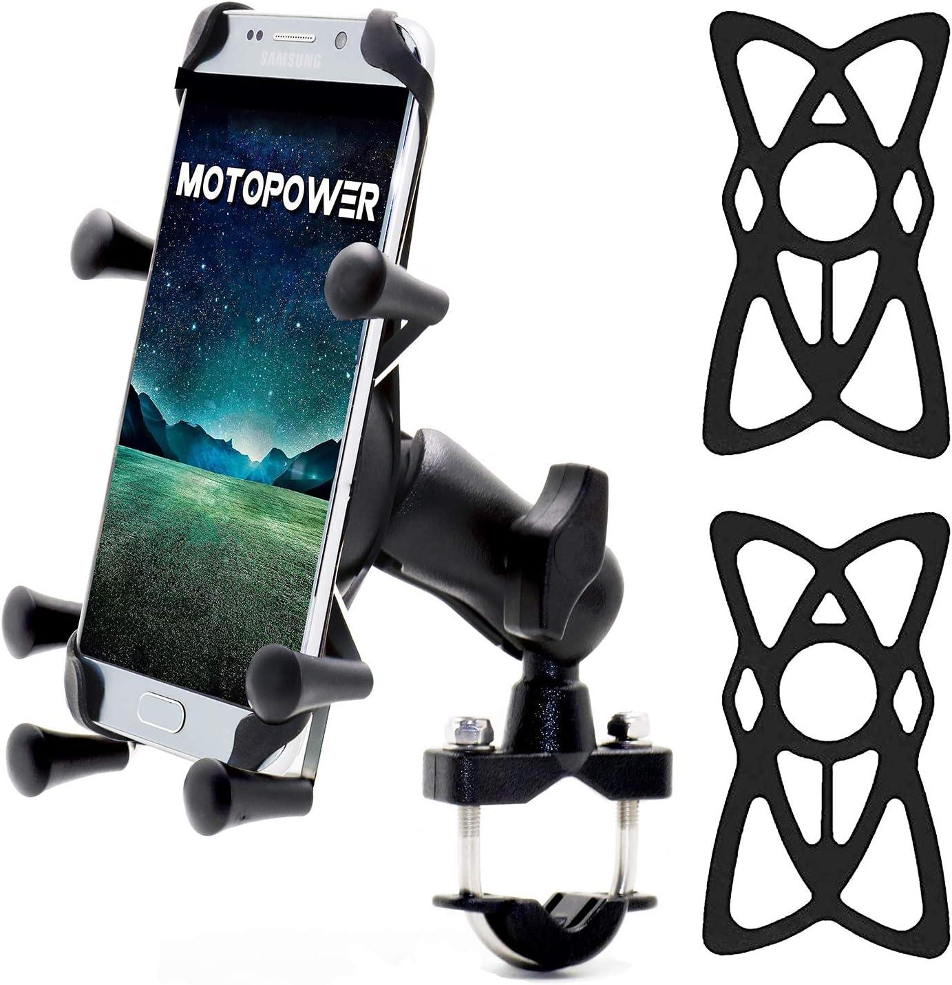 Motopower Mp0619 Fahrrad Motorrad Handy Halterung Für Jedes Smartphone Gps Universal Mountain Road Fahrrad Motorrad Lenkerhalter Auto