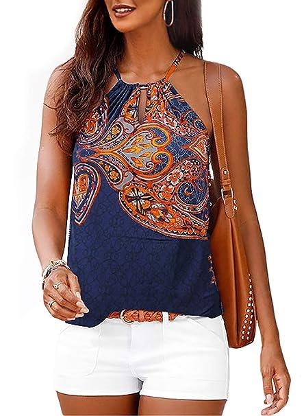 2d4a4d5c09fa9 Astylish Women's Summer Floral Print Sleeveless Spaghetti Strap Cami Tank  Tops