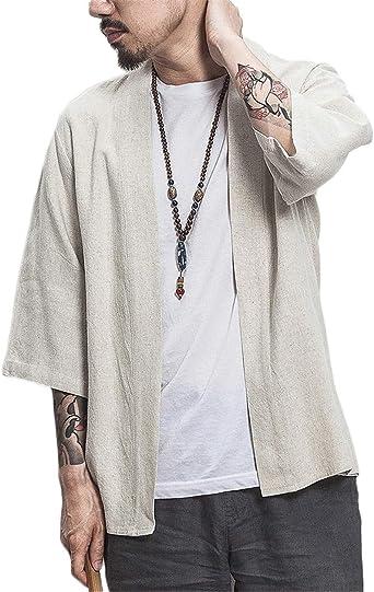 Hombres Color Sólido Kimono Rebeca Camisa Retro Playa Chaqueta Holgado Algodón y Lino: Amazon.es: Ropa y accesorios
