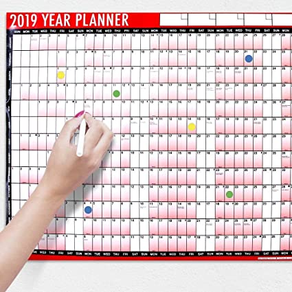 Calendario de pared para hacer la planificación del año 2018 ...