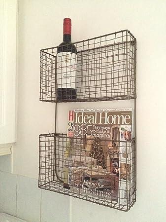 Kupferdraht, Magazin, Zeitung Weinregal Vintage Doppelter Wand Korb ...