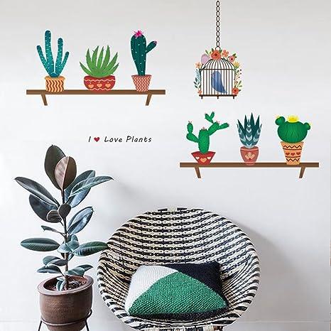 Vinilos Decorativos Pared Naturaleza.Decalmile Cactus Plantas Pegatinas De Pared Vinilo Naturaleza Pegatinas Decorativos Adhesiva Pared Dormitorio Salon Habitacion Infantiles