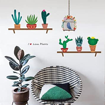 Decalmile Cactus Plantes Stickers Muraux Amovible Diy Stickers