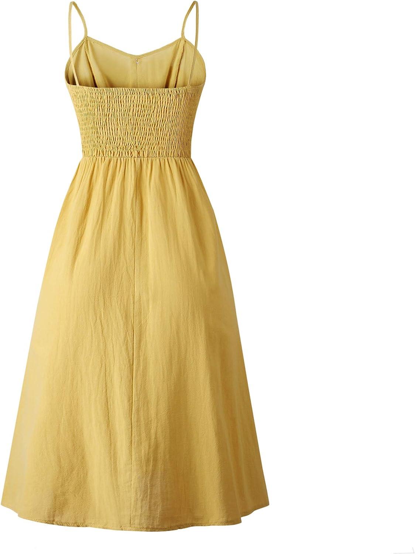 ECHOINE Women\'s Summer Dresses, Floral Boho Spaghetti Strap Button Down Swing Midi Beach Dress with Pockets 51mpeADWrML