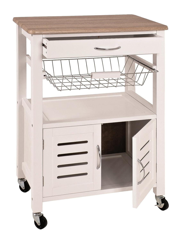 Küchenwagen in weiß-eiche hell mit Obstkorb, Schubladen und vieles mehr; Maße (B T H) in cm  58 x 37 x 84