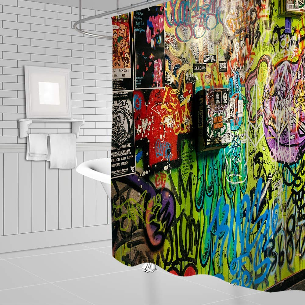 Colorful Graffiti Shower Curtain Decor Abstract Messy Design Fabric Bathroom Curtain Decor Set with Hooks 70x70Inches