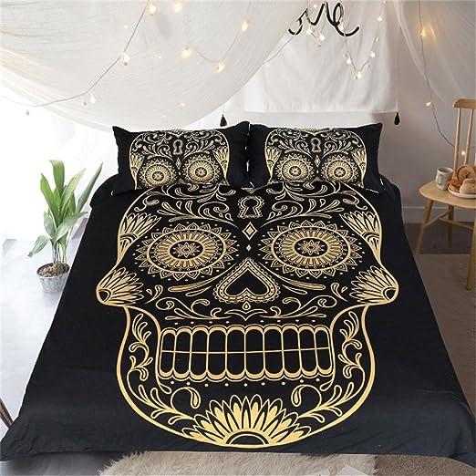 3D Gothic Skull Wolf Bedding Set Duvet Cover Pillow Case Twin Full Queen King