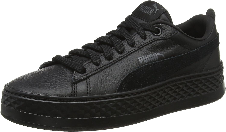 PUMA Women's Smash Platform L Low-Top Sneakers, Black Black, 8 UK
