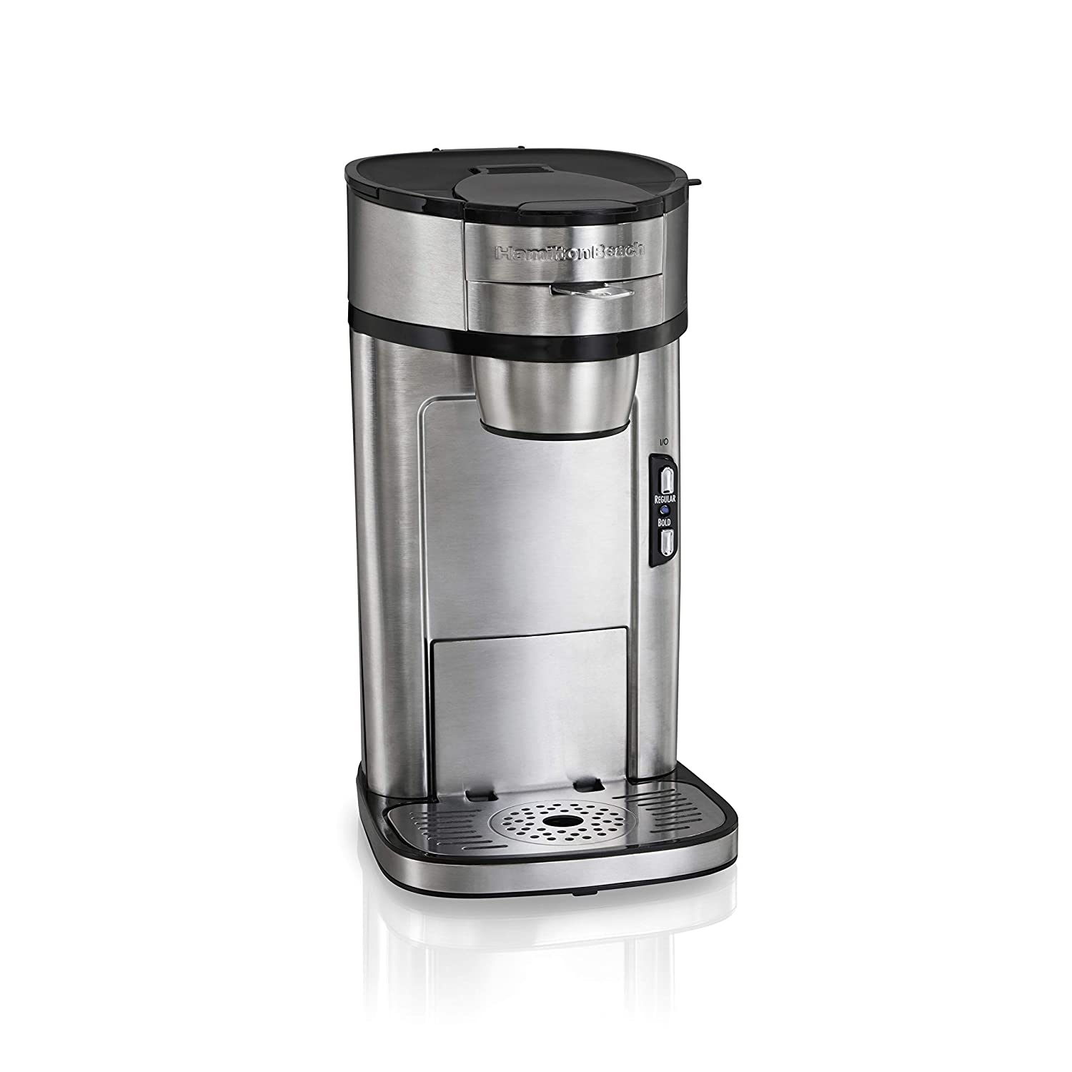 Hamilton Beach The Scoop Single Serve Coffee Maker, Fast Brewing, Stainless Steel (49981A),