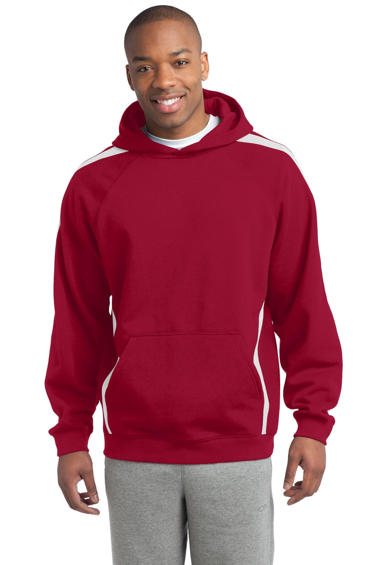 Sport-Tek Men's Sleeve Stripe Pullover Hooded Sweatshirt 4XL True Red/White by Sport-Tek
