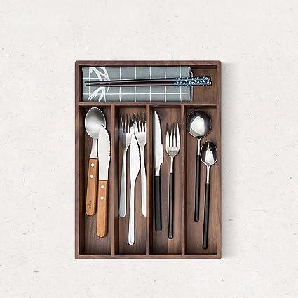 SSBY El nogal negro utensilios de cocina cajones cubiertos de verificación independiente de madera sólida caja