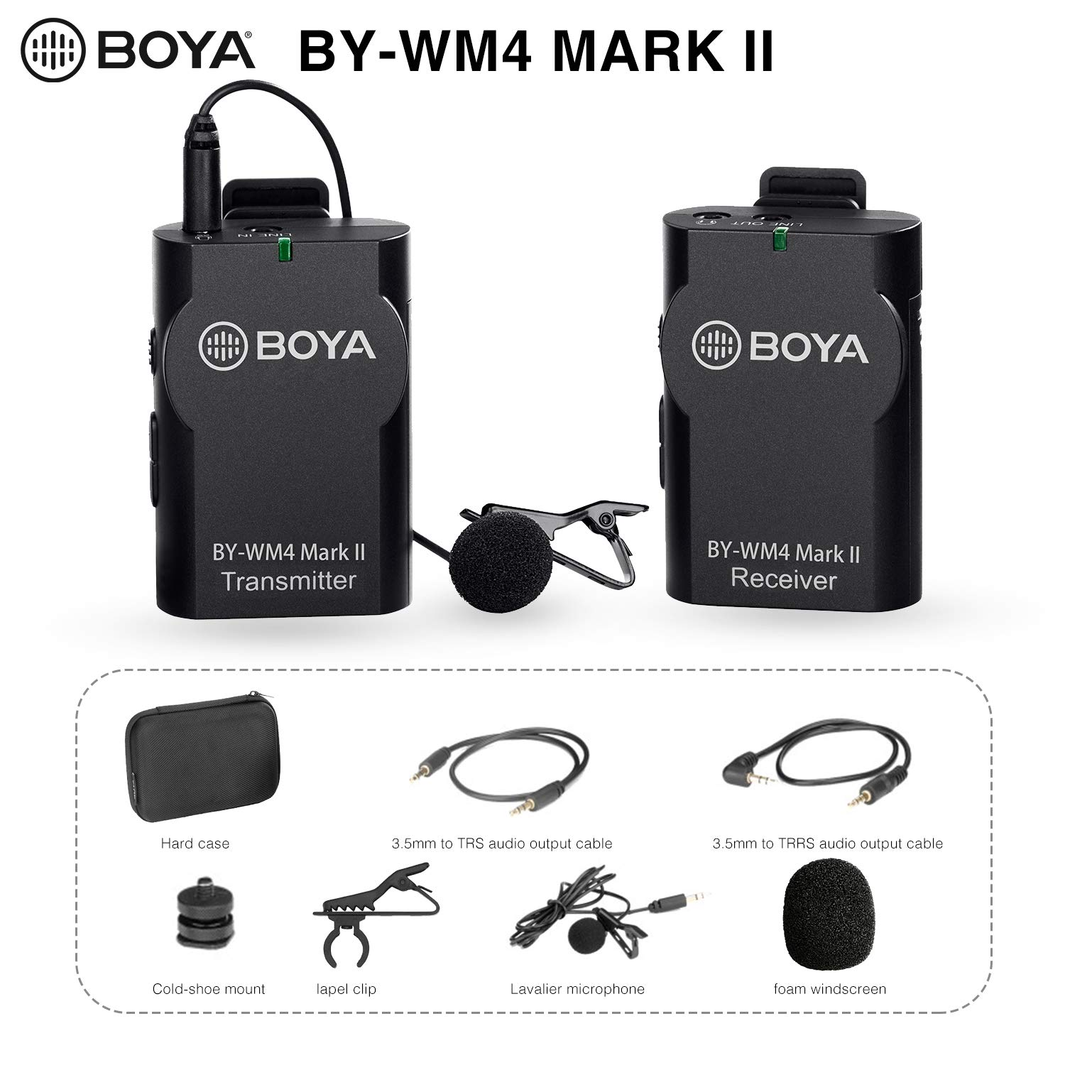 BOYA Upgrade 2.4GHz Wireless Lavalier Lapel Mic, Omnidirectional Microphone System Audio Recording with Easy Clip On, 3.5mm Plug for Canon Nikon Sony DSLR Camera, Camcorder, iPhone Huawei Smartphone by BOYA
