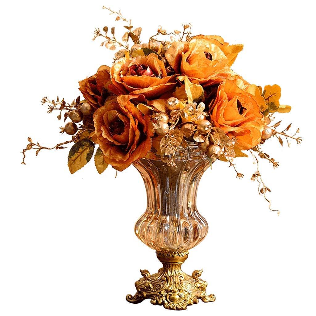 クリスタルガラス花瓶装飾リビングルームのコーヒーテーブル装飾高級レトロテーブルフラワーアレンジャー LCSHAN (Color : Ceramic-Bronze, Size : 44cm*33.5cm) B07T1G77YW Ceramic-Bronze 44cm*33.5cm