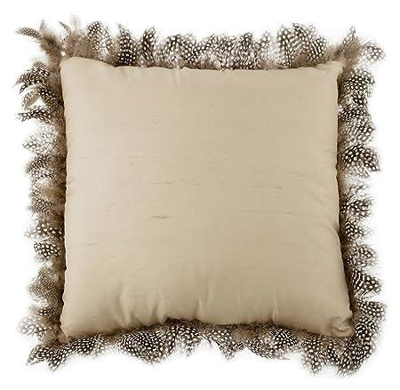 Zara Home Luxurious Decorative Silk Throw Pillow With Feather Trim Accent,  Iridescent