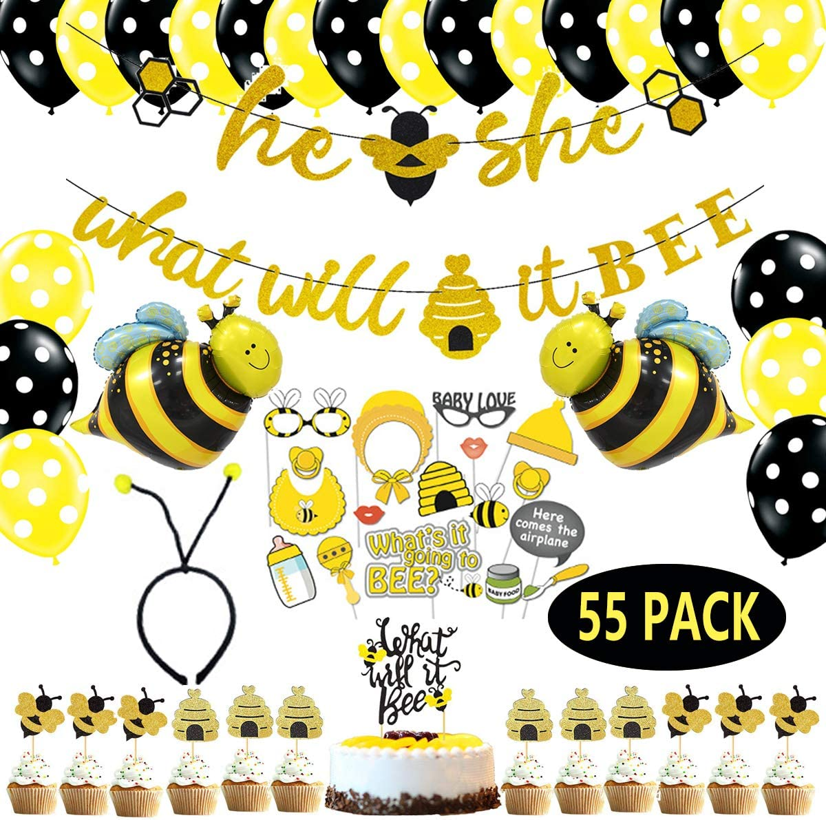 What Will It Bee Gender Reveal Party , What Will it Bee Banner Cake Toppers Glitter Bee Honeycomb Cupcake Toppers Bee Balloon Headband Photo Booth Props for Baby Reveal Party Mommy to bee Decorations