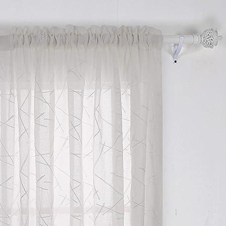 Deconovo Lot de 2 Rideau Brodé Voilage Beige pour Enfant Rideau Voile Faux  Lin Passe Tringle avec Motifs pour Chambre Bébé 132x242cm