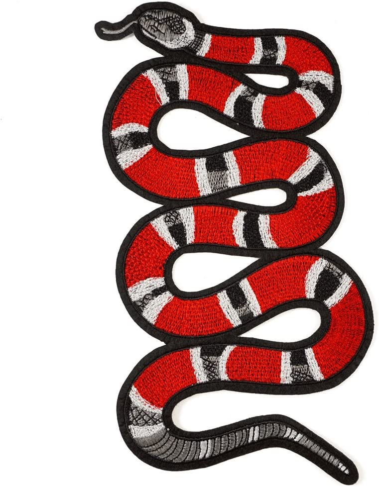 1 Pair Red Sequin Snake Embroidery Patch,Snake Embroidery Patch on Clothes