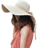 Women's Large Wide Brim Floppy Straw Hat Summer Beach Sun Hat w/ Bow Ribbon