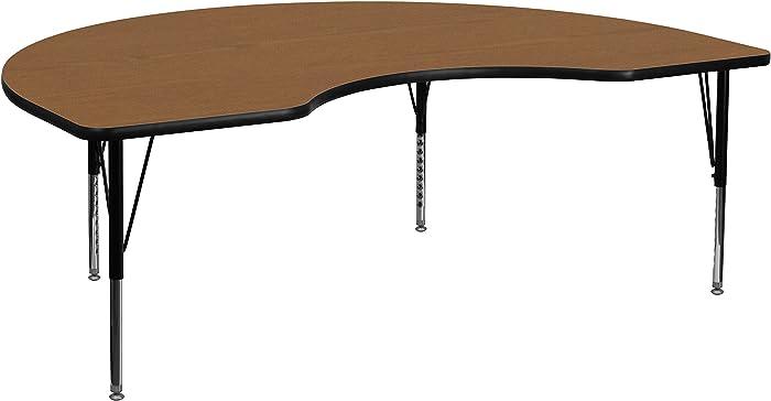 Flash Furniture 48''W x 72''L Kidney Oak Thermal Laminate Activity Table - Height Adjustable Short Legs