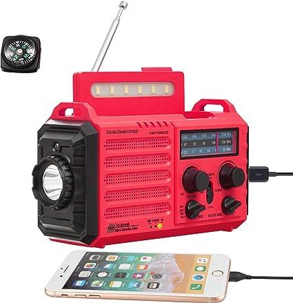 Wind Up Weather Emergency Radio w Flashlight Blackout Solar Smartphone Charger