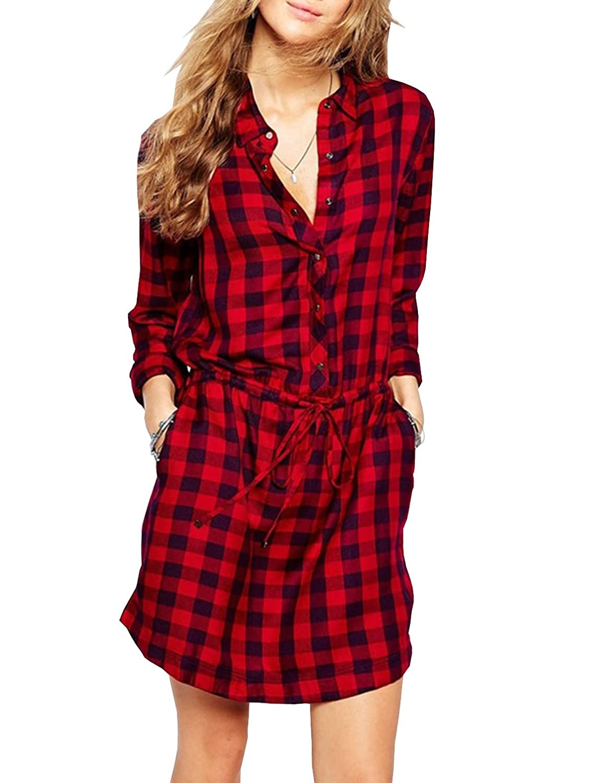 Lange Hemden Plaid Baumwolle Shirt Wild Casual Streetwear Shirt Bluse Rotes Kariertes-Kleid