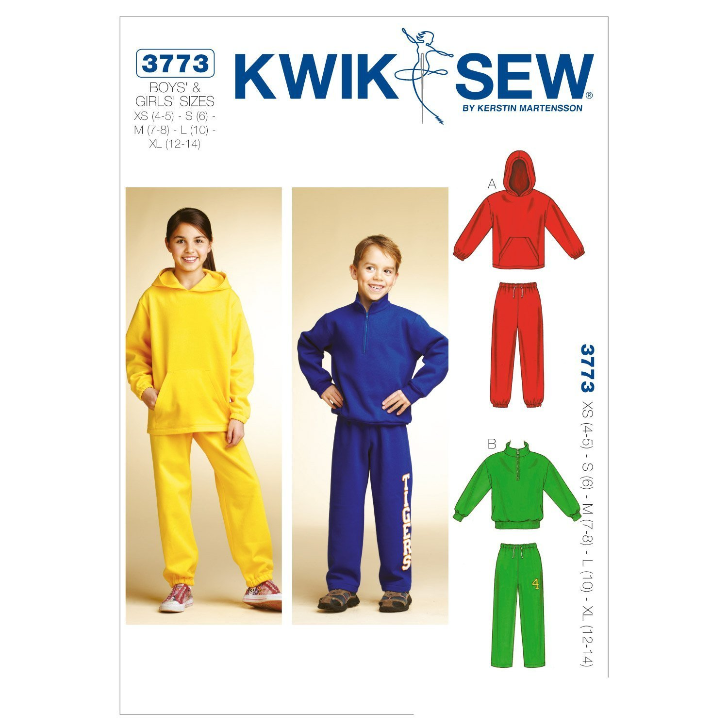 White Pack of 1 KWIK-SEW PATTERNS K3773 Size Extra-Small 4-5// Small 6// Medium 7-8// Large 10// Extra-Large 12-14 Shirts and Pants