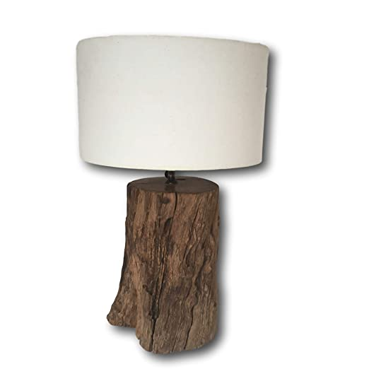 5d51e79515ce Rustic Wood Table Lamp - Bedroom Wooden Desk Lamp - Choose from Three  Lampshade Colours - 60cm H (White): Amazon.co.uk: Kitchen & Home