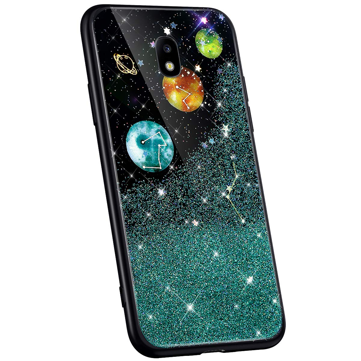 Jinghuash Kompatibel mit Samsung Galaxy J7 2017 H/ülle Case Premium Silikon TPU Kreatives 3D Universum Muster Gl/änzend Glitzer Ultra d/ünn Silikon Kratzfest Handyh/ülle Tasche Case,Silber