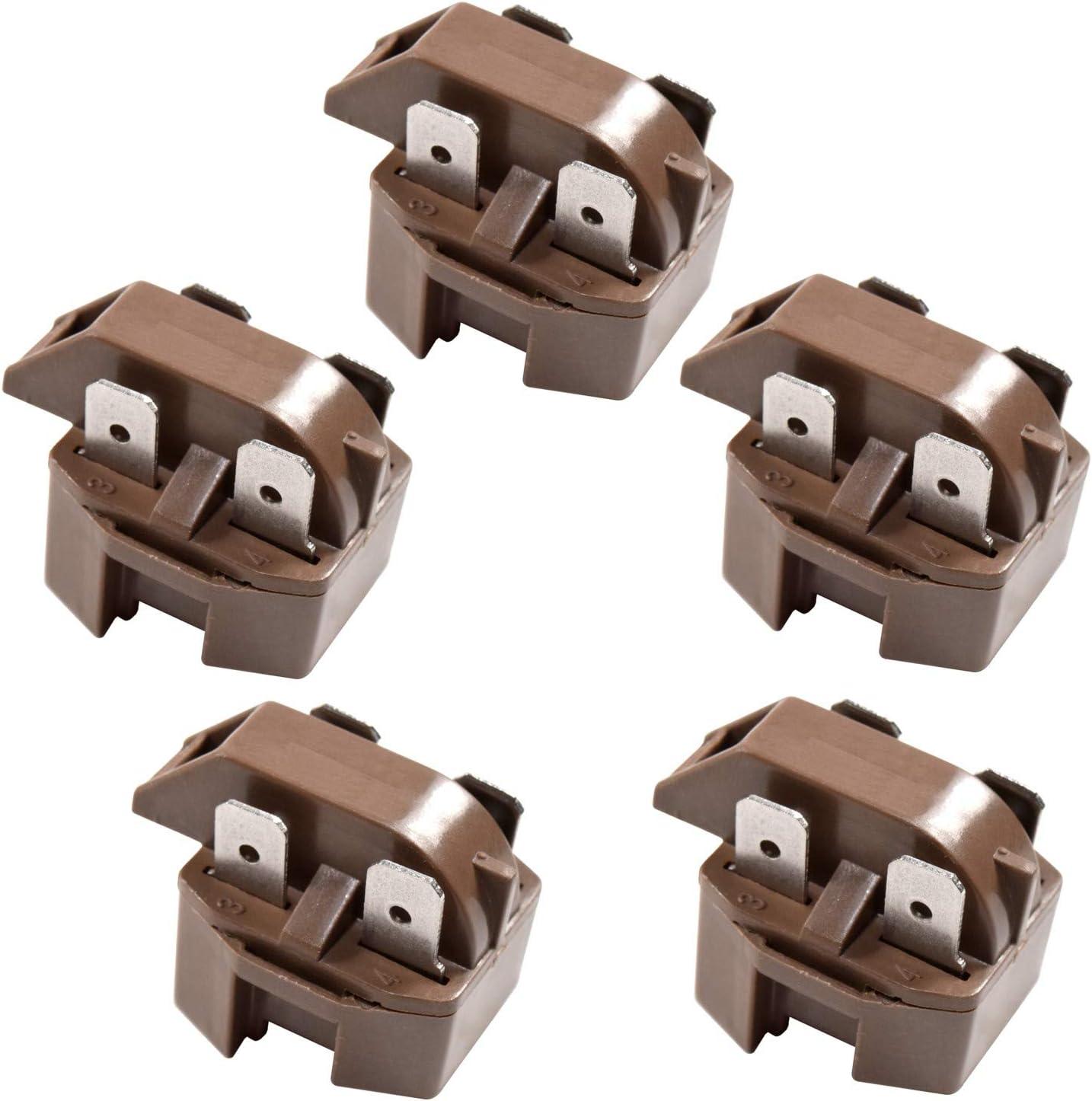 HQRP 5-Pack 4 Pin Universal Refrigerator Freezer Compressor PTC Start Relays Starter IC-4 Replacement plus HQRP Coaster
