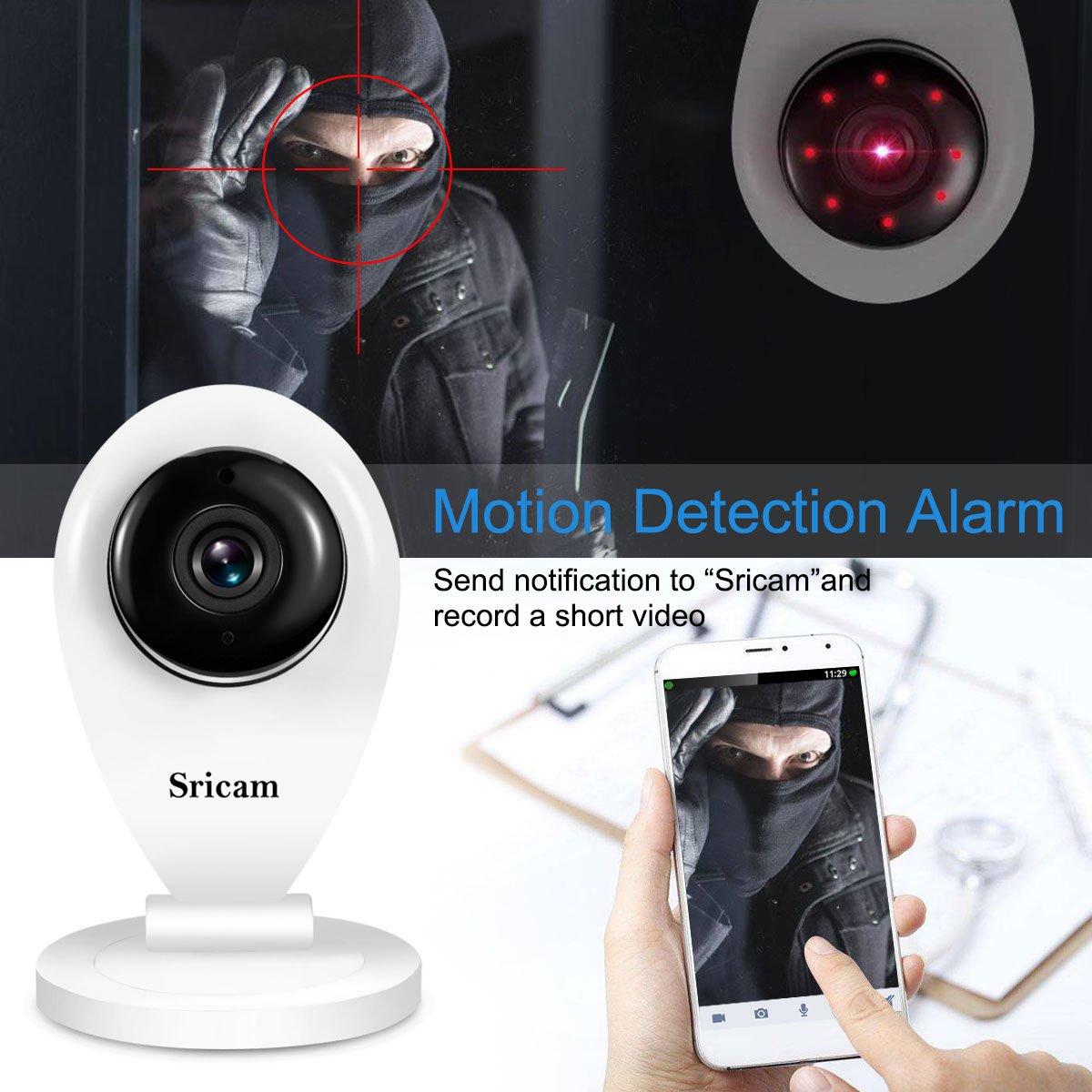 Sricam SP009 A Mini Videoc/ámara de Vigilancia con Microfone P2P Baby Monitor H.264 DVR Apoyo MicroSD de hasta 128 GB Visi/ón Nocturna Todas las funciones de APP Sin filiwifi 720p HD